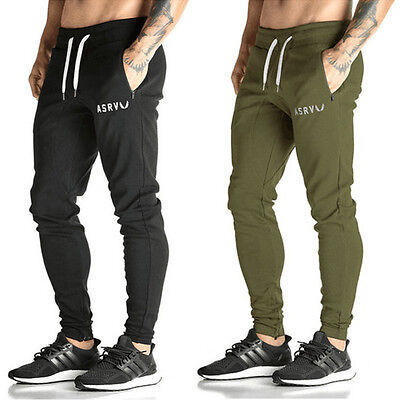 New Mens Gym Slim Fit Trousers Tracksuit Bottoms Skinny Joggers Sweat Pants