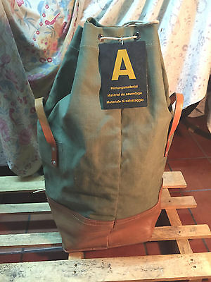 1969 Big Sack Carrier Bag Leather Canvas Vintage Swiss Army Military