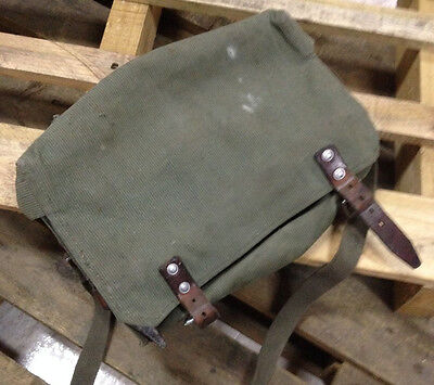 Nice! Vintage Swiss Army Military Carpenter Shoulder Bag Leather and Canvas 70s