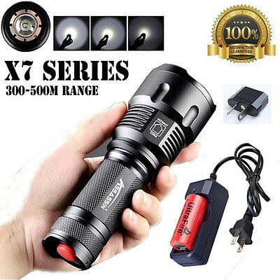 Brightest 8000LM CREE T6 LED Flashlight Zoom Torch Light +26650 Battery+Charger