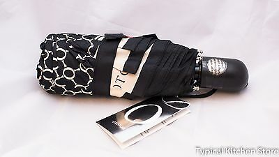 NEW Oroton Signature O Umbrella Automatic 24cm Small RRP $75 Black Milk