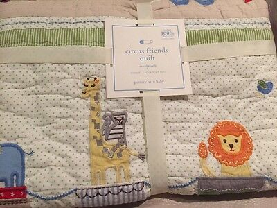 NWT Pottery Barn Kids Circus Friends Toddler Quilt -Organic