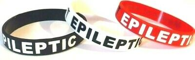 Epilepsy Epileptic Medical Alert Silicone Wrist Band Bracelet UK SELLER