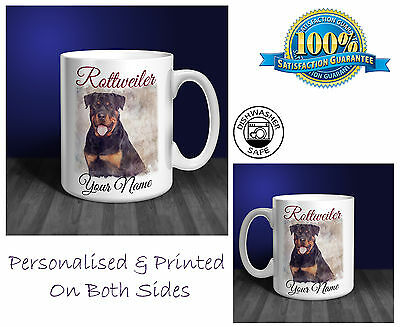 Rottweiler Personalised Ceramic Mug: Perfect Gift. (D228)