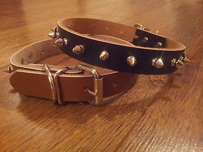 Pet Puppy / Dog Collars Spiked Real Leather Extra Small, Small, Medium, Large