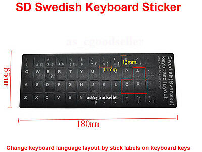 Replacement Swedish SD Keyboard Sticker KEY Laptop Black With White Letters NEW