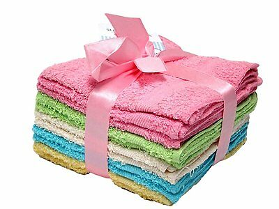 DELUXE 100% Cotton WASHCLOTHS, 10pc Set, Colors may Vary