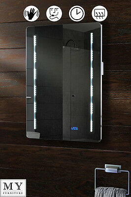 Led Illuminated Bathroom Mirror Ip44 Demister Shaver Sensor - Quartz