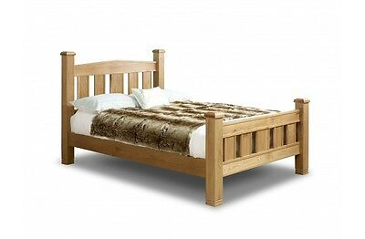4ft6 5ft 6ft Traditional Oak Pine Solid Bed Metal Core Mattress Options