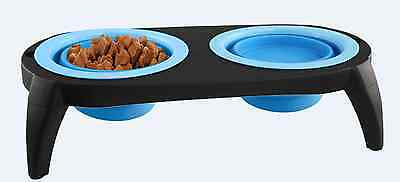 Double Collapsible Silicone Travel Pet Bowl Cat Bowl Dog Food Bowl Water Bowl UK