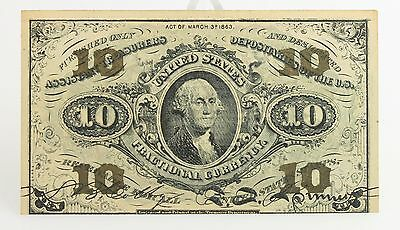 1863 US Fractional Currency 3rd Issue 10 Cent Note United States Washington Rare