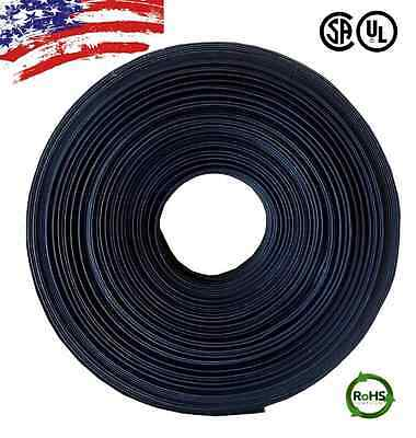 "50 FT. 50' Feet BLACK 1/4"" 6mm Polyolefin 2:1 Heat Shrink Tubing Tube Cable UL"