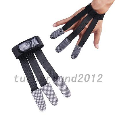Black Archery Hunting Two/Three Finger Leather Shooting Glove Hand Protector