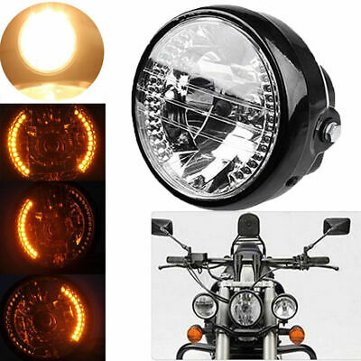 "UNIVERSAL FIT 6.5"" H4 Motorcycle Sportbike Headlight LED Turn Signal Amber Light"