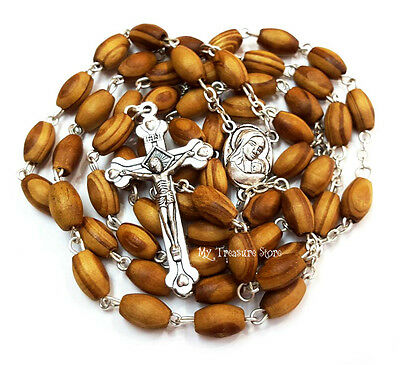 Olive Wood Rosary Beads Necklace with Jerusalem Soil Centerpiece Cross Gift Box