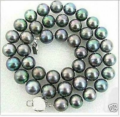 stunning 9-10mm tahitian peacock green pearl necklace 18inch