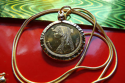 "Gold Plated Nugget Bezeled Cleopatra Egyptian Coin Pendant & 24"" Golden Chain"