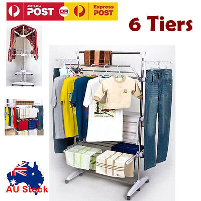 Portable 6 Tiers Indoor Clothes Airer Drying Rack Foldable Stainless Steel