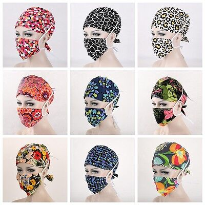 New 32 Kinds Pattern Flower Printing Scrub Cap Medical Surgical Surgery Hat+Mask
