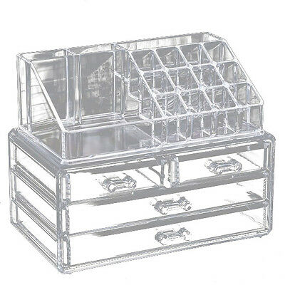 Clear Makeup Case 4 Drawer 16 grid Cosmetic Organizer Jewelry Storage Acrylic