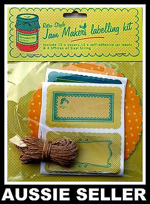 24x Retro Style Jam Marker Label Kit Stickers Craft Kitchen Jar Label Tags Decor