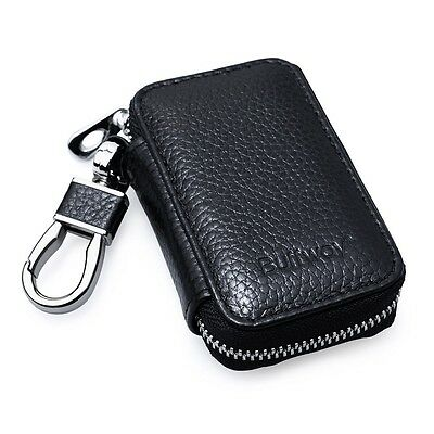 Leather Car Key Remote Keychain Holder Coin Keyring Pouch Wallet Zipper Case Men