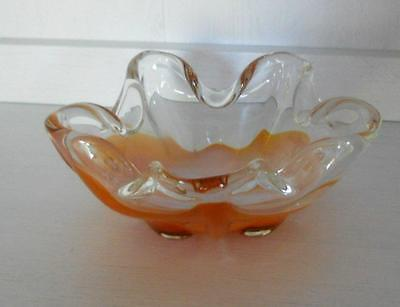 Retro Mid Century Italian Murano Art Glass Fluted Bowl Dish Orange Clear White