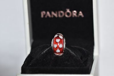 PANDORA CHARM, Murano Glass Bead 790948 RED AND WHITE Heart Murano