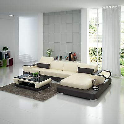 Free Shipping Ganasi Genuine Leather Sofa Chair Couch Sectional Design