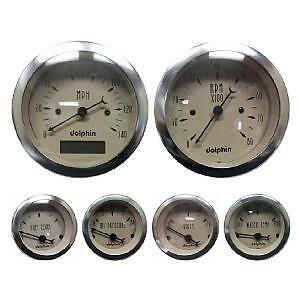 Dolphin 6 Gauge  Set Beige/tan With Black Needles Mech Speedometer