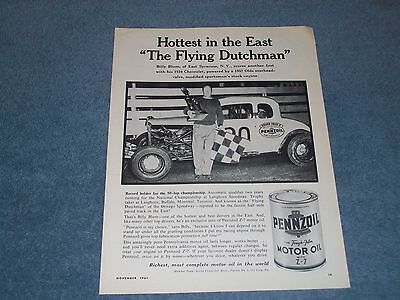 "1961 Pennzoil Vintage Oil Ad with ""The Flying Dutchman"" Billy Blum Modified Race"
