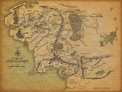 A4 Vintage Middle Earth Adhesive/Sticker Poster (Lord of the Rings Hobbit Art)