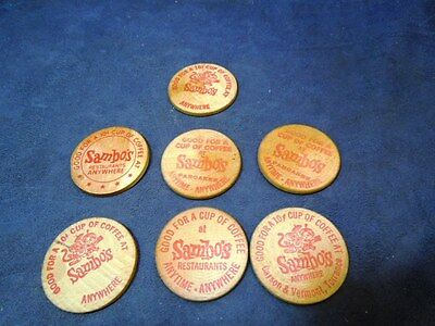 Collection Lot Of 7 Vintage Sambo's Restaurant Wooden Nickel Tokens Pancakes