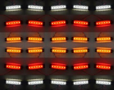 30 pcs SMD LED Red Rear Yellow Side White Front Marker Lights Truck Trailer 12V