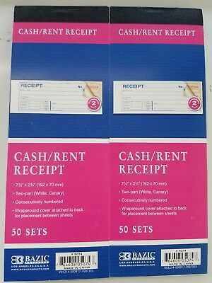 Two Cash Money Rent Receipt Record Books 2 Part 50 Sets Duplicate Copy w/Carbon