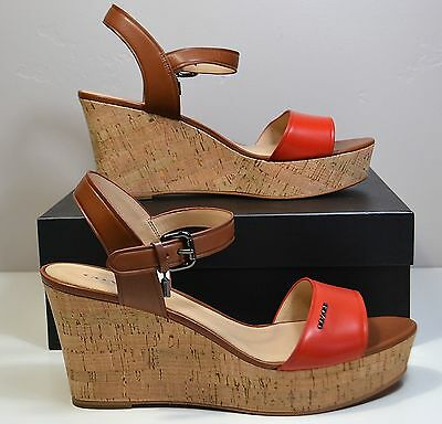 376b2682825 NIB COACH FRAN Mat Calf Carmine Saddle Leather Wedge Sandal Shoe Sz 6-10  A01188