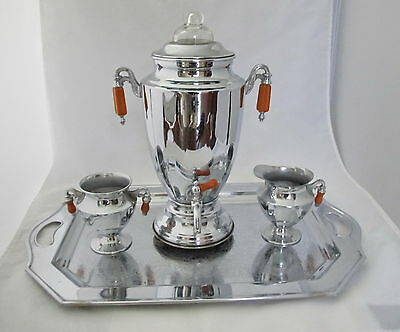Beautiful  Art Deco Bakelite, Chrome,  Coffee Pot, Tray, Sugar & Creamer Set