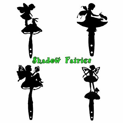 Enchanted Fairy Shadow Pick Metal Silhouette Mushroom Black Satin Garden Decor