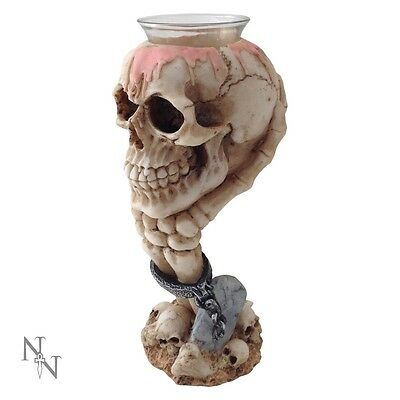 Chained Skeleton Hand & Skull Tealight Candle Holder; Gothic Ornament - NEW