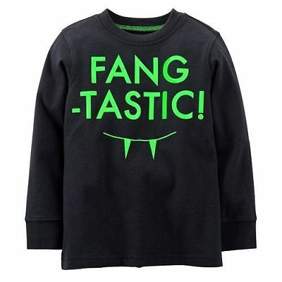 Carters Black Fang Tastic Glow in The Dark Short Sleeve Tee T Shirt Boys NWT
