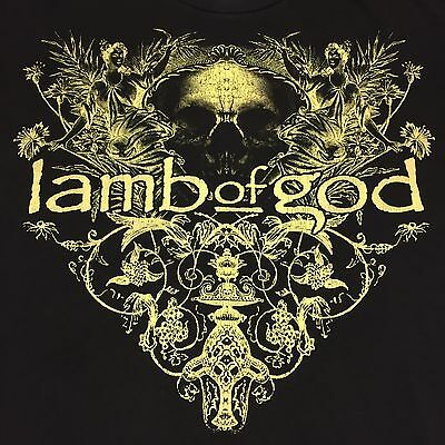 Lamb Of God 2008 Concert Tour 2 sided T-Shirt Heavy Metal Band Rock Blues Guitar