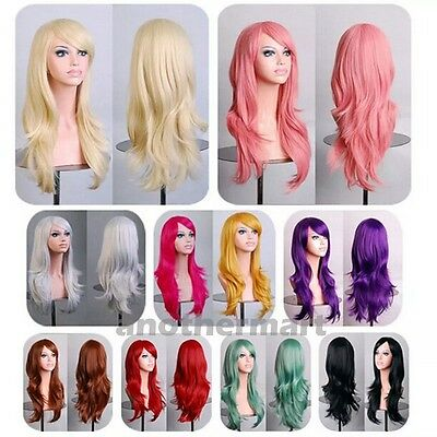 UK 100% HOT Synthetic Anime Cosplay Wigs Long Hair Full Wig Black Brown  Grey Red b5d7e5b9819a