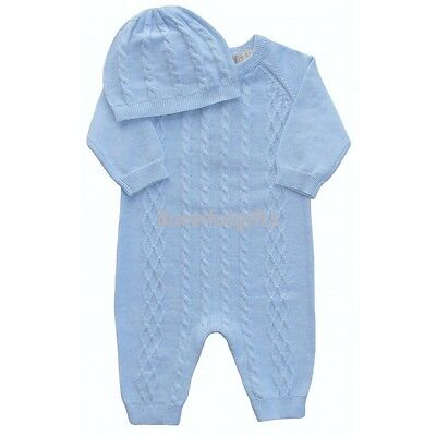 Baby Boys Blue All in One Knitted Cable Romper & Hat Newborn 0-3 3-6 Month