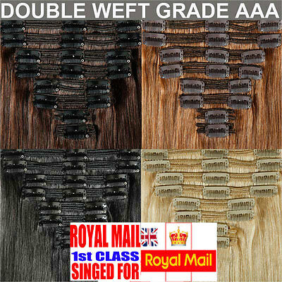 Extra THICK Clip In Remy Real Human Hair Extensions Full Head Double Wefted M511