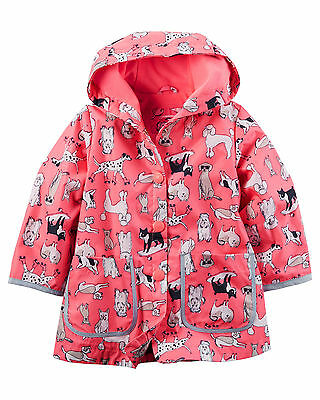 Carter's Infant Baby Girl's Pink Fleece-Lined Puppy Dog Print Raincoat 12M NWT