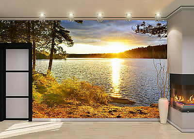 Sunset Over Lake Wall Mural Photo Wallpaper GIANT DECOR Paper Poster Free Paste