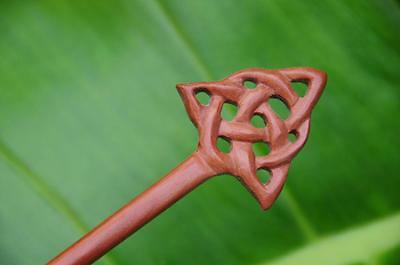Handmade carved CELTIC wooden HAIR PICK STICK or SHAWL PIN Sapodilla wood new