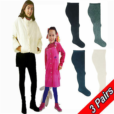 3 Pairs Girls Cotton Rich Super Soft Lycra* School Tights, 4 Colours + 5 Sizes