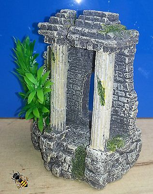 Aquarium Ornament Ancient Columns and Plant Fish Tank Bowl Decoration New