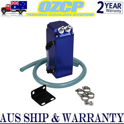Blue 1L Square Aluminum Engine Oil Catch Tank Breather Can & Hose Kit